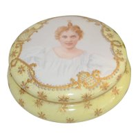 Limoges Portrait Dresser Box Jewelry Casket Vanity Jar Signed