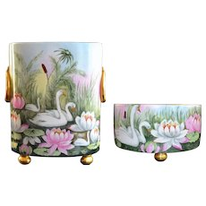 Limoges Pair of Scenic Swan Footed Cache Pot & Squat Vase