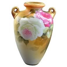 Nippon Porcelain Rose Decorated Vase