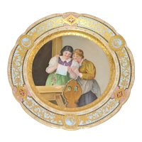 Royal Rudolstadt Hand Painted Signed Plate , Royal Vienna Style