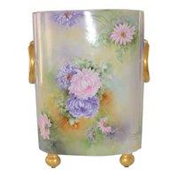 Limoges LARGE Cache Pot Vase Hand Painted Chrysanthemums