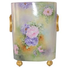 Limoges LARGE Cache Pot Vase Hand Painted Chrysanthemums