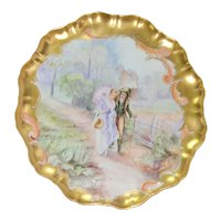 Limoges LARGE Scenic Charger Plaque JPL Pouyat Strolling Couple