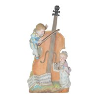 Charles Levy French Porcelain Bisque Figurine Vase Children w/ Cello