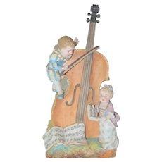 Charles Levy French Porcelain Bisque Figurine Vase Children w/ Cello