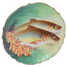 Limoges Cabinet Plate Hand Painted Trout Fish Artist Signed