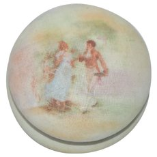 Royal Bayreuth Tapestry Box Vanity Jar  Scenic Couple
