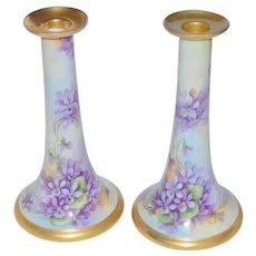 Bavarian Porcelain Candlesticks Violets Artist M. Perl