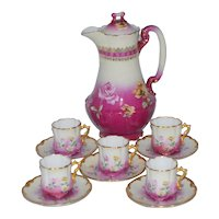 LIMOGES Porcelain CHOCOLATE Set Hand Painted Roses 12 pc Set