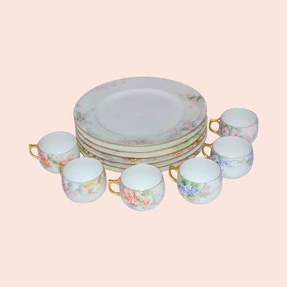 Limoges Porcelain Cup Plate Serving Set of 6 Artist Vail Floral Decor 12 pcs.