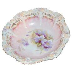 RS Prussia Porcelain Purple Lilac Clematis Bowl FD39 Stipple Flower Mold Rim