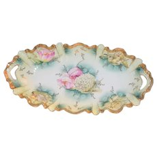 RS Prussia Porcelain Double Handle Tray Mold 259 Snowball Poppy & Daffodil Flowers
