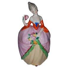 Porcelain Figural Lady Dresser Box Vanity Jar