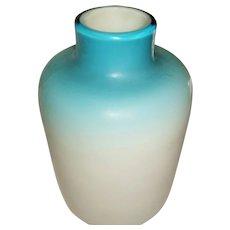 Thomas Webb Blue Cased Satin Glass Vase