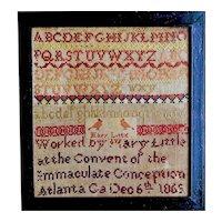 Extremely rare 1869 Atlanta, GA sampler by Mary Little
