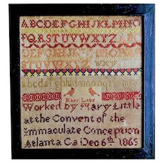 Extremely rare 1869 Atlanta, GA sampler by Mary Little