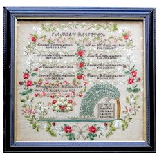 1829 Quebec Province Family Record Sampler with brilliant original color
