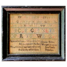Rare 1807 New Castle, Delaware schoolgirl needlework sampler