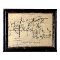 Unique ca 1834 needlework map of Massachusetts, by Elizabeth Stevens, NYC Public School No. 13