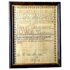 Rare 1839-40 Iowa Territory sampler by Eliza N. Chase, Wapsinonoc, Muscatine County, Iowa Territory