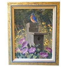 Thomas Hirata original oil painting of an Eastern bluebird on its bluebird house