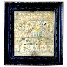 1733 Burlington, New Jersey sampler by Rebekah Watson