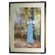 """Alfred Glendening 1895 watercolor of young woman, """"Golden Days"""""""