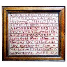 Rare 1871 Sacramento, California sampler with stitched place name