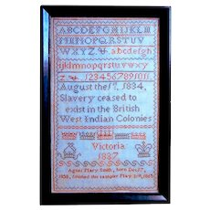 Rare 1865 sampler celebrating the end of British West Indies slavery