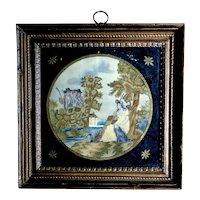 circa 1810-1820 Philadelphia silk embroidery, original frame