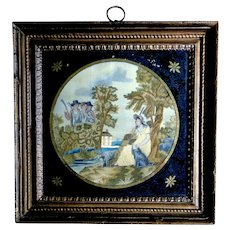 circa 1810-1820 Philadelphia silk embroidery, original frame