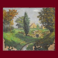 1910 Oil Landscape Painting, To be Restored, Albert Mühlemann (1886-1969)