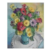 1950's Original Still Life Painting, Vintage Flowers Painting, Claire Demartinecourt