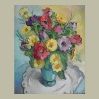 1950's Still Life Painting, Vintage Flowers Painting, Claire Demartinecourt