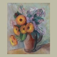 Pastel Painting Still Life, Vintage Flowers Painting, Claire Demartinécourt