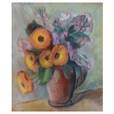 Pastel Painting Still Life, Vintage Flowers Painting, Claire Demartinécourt