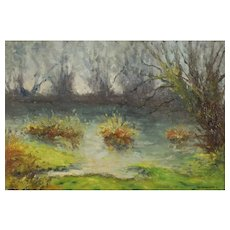 Vintage Oil Canvas Painting, River Landscape Circa 1940, Georges Doublet
