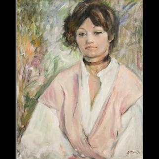 Young Woman Portrait, Vintage Oil Canvas Portrait,  1978