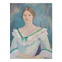 Oil Painting Portrait, Vintage Portrait of a Young Woman, 1976
