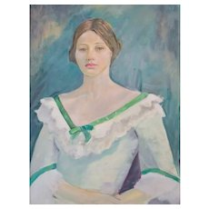 Oil Painting Portrait, Vintage Portrait of a Young Woman, 1976