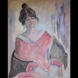 Oil Painting Portrait, Vintage Portrait of a Woman,  Circa 1975