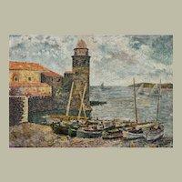 Vintage Landscape Oil Painting, French Coastal Pountillist Painting, 1941