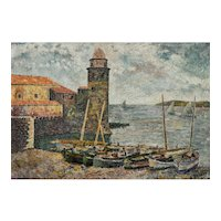Vintage Landscape Oil Painting, French Coastal Pountillist Painting, 1941
