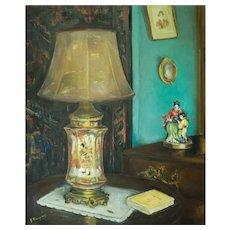 Still Life Lamp Painting, Vintage Interior Scene Large Painting, Circa 1940