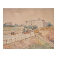 Old Paris View, Framed Watercolor Painting, Francis Garat (1853-1914)