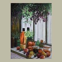 Still Life Oil Painting, Still Life with Fruits, Erwin Mistlberger (1931)