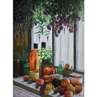 Still Life Oil Painting, Still Life with Fruits, Erwin Mistlberger (1931)