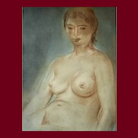 Louis Muhlstock (1904-2001), Nude Woman Portrait, 1960 Pastel Painting