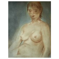 Louis Muhlstock (1904-2001), Nude Woman Portrait, 1960 Pastel Painting