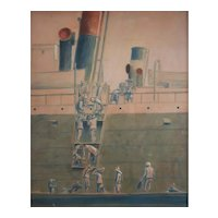 Pastel Drawing Painting, Port Scene Painting, Edouard Pannetier (1884-1965)